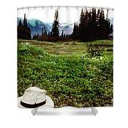 Mount Ranier Cabin Shower Curtain