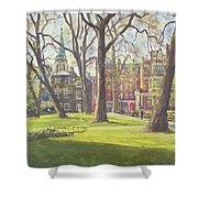 Mount Street Gardens, London Oil On Canvas Shower Curtain