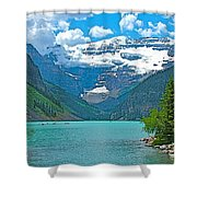 Mount Victoria Rises Above Lake Louise In Banff Np-alberta Shower Curtain