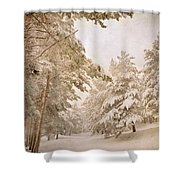 Mountain Adventure In The Snow Shower Curtain