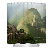 Mountain And Train Below Along Urubamba Shower Curtain
