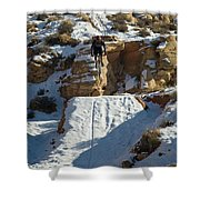 Mountain Biker Jumping With Snowy Shower Curtain