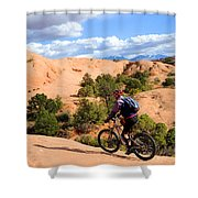 Mountain Biking Moab Slickrock Trail - Utah Shower Curtain by Gary Whitton