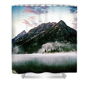 Mountain By The Lake Shower Curtain