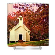 Mountain Church In Fall Shower Curtain