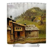 Mountain House  Shower Curtain by Albert Bierstadt