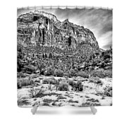 Mountain In Winter - Bw Shower Curtain