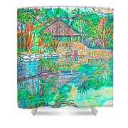 Mountain Lake Reflections Shower Curtain by Kendall Kessler