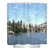 Mountain Lake Retreat Shower Curtain