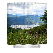 Mountain Lake Viewpoint Shower Curtain by Carol Groenen