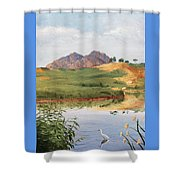 Mountain Landscape With Egret Shower Curtain