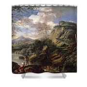 Mountain Landscape With Figures Shower Curtain