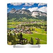 Mountain Landscape With Village In The Allgaeu Alps Austria Shower Curtain