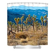Mountain Layer Landscape From Quail Springs In Joshua Tree Np-ca- Shower Curtain