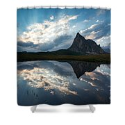 Mountain Peak And Clouds Reflected In Alpine Lake In The Dolomit Shower Curtain