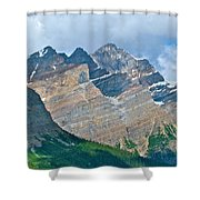 Mountain Peaks From Bow Summit Along Icefield Parkway In Alberta Shower Curtain