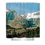 Mountain Peaks From Plain Of Six Glaciers Trail In Banff Np-albe Shower Curtain
