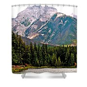 Mountain Peaks Over Johnson Lake In Banff Np-alberta Shower Curtain