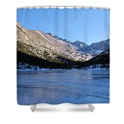 Mountain Reflection On Frozen Lake Shower Curtain