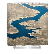 Mountain River From The Air Shower Curtain