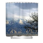 Mountain Snow Storm Shower Curtain