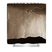Mountain Storm - Sepia Print Shower Curtain
