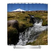 Mountain Stream And Guallatiri Volcano Shower Curtain