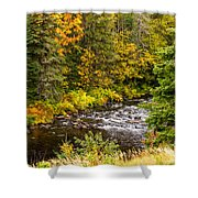 Mountain Stream In Autumn Shower Curtain
