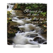 Mountain Stream With Scripture Shower Curtain