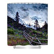 Mountain Wooden Fence  Shower Curtain