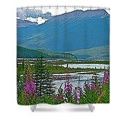 Mountains And Fireweed Along North Sascatchewan River Along Icefield Parkway-ab Shower Curtain