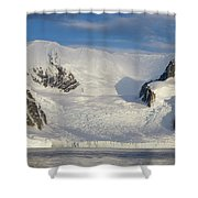 Mountains And Glacier At Sunset Shower Curtain