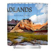 Mountains And Sky In The Badlands National Park  Shower Curtain