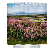Mountains And Wildflowers Shower Curtain