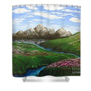 Mountains In Springtime Shower Curtain