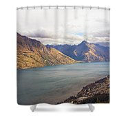 Mountains Meet Lake #5 Shower Curtain