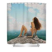 Mountaintop Meditation Shower Curtain