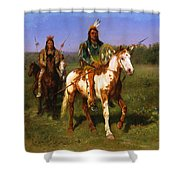 Mounted Indians Carrying Spears Shower Curtain