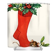 Mouse In A Christmas Sock Shower Curtain