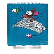 Mouse In His Paper Aeroplane Shower Curtain