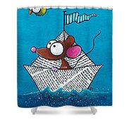 Mouse In His Paper Boat Shower Curtain