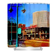 Mpm And Lamp Post Abstract Painting Shower Curtain