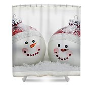 Mr. And Mrs. Snowman Shower Curtain