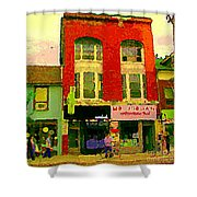 Mr Jordan Mediterranean Food Cafe Cabbagetown Restaurants Toronto Street Scene Paintings C Spandau Shower Curtain by Carole Spandau