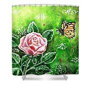 Ms. Monarch And Her Ladybug Friends Shower Curtain