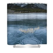 Mt. Abraham And Ice On Abraham Lake Shower Curtain