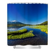 Mt. Bachelor Reflection And Forest Shower Curtain