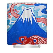 Mt. Fuji And A Red Dragon Shower Curtain