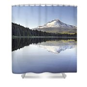 Mt Hood Reflection On Trillium Lake Panorama Shower Curtain