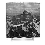 T-703512-bw-mt. Hungabee From Summit Of Mt. Lefroy-bw Shower Curtain